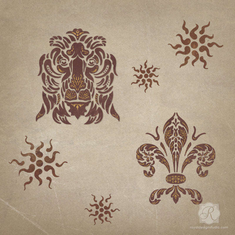 Traditional Italian Shields Furniture Stencils for Painting Doors, Cabinets, and Tables - Royal Design Studio