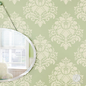Paint Walls with Flower Stencils for Classic European Style - Aveline Floral Damask Wall Stencils - Royal Design Studio