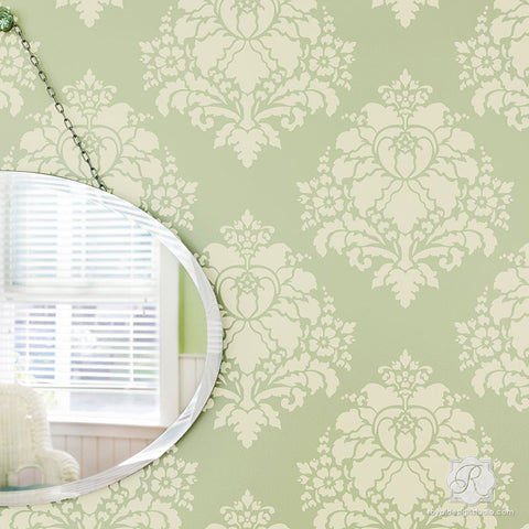 Paint Walls With Flower Stencils For Classic European Style   Aveline  Floral Damask Wall Stencils
