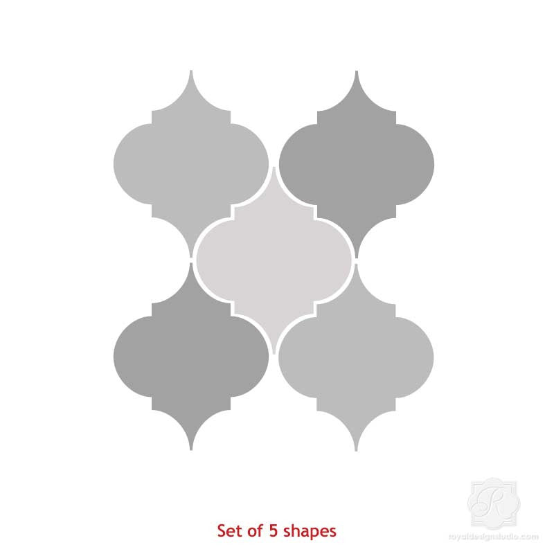 Mix and Match Stencil Designs on Painted Trellis Wall Art Wood Shapes - Royal Design Studio