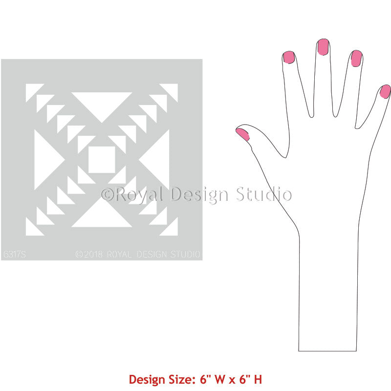 Decorating Flooring or Wall with Concrete Quilt Tile Stencils - Royal Design Studio