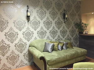 Living Room Wall Art Stencils Large Damask Pattern - Royal Design Studio