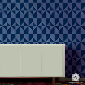 Painting Large Modern Tiled Decor - Calypso Tiles Allover Stencils for Painting - Royal Design Studio