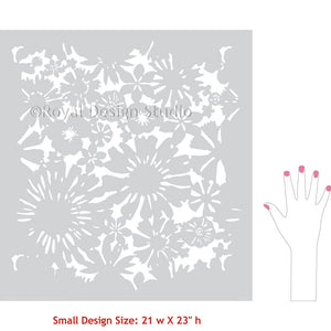 Painted Flower Wall Mural Art using Floral Wall Stencils - Royal Design Studio