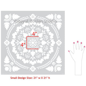 Crafty Wall Art with Large Allover Wallpaper Stencils - Mandala Fusion Tile Stencil - Royal Design Studio