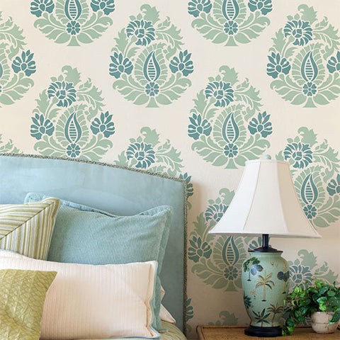 Indian Annapakshi Damask Wall Stencil Royal Design Studio