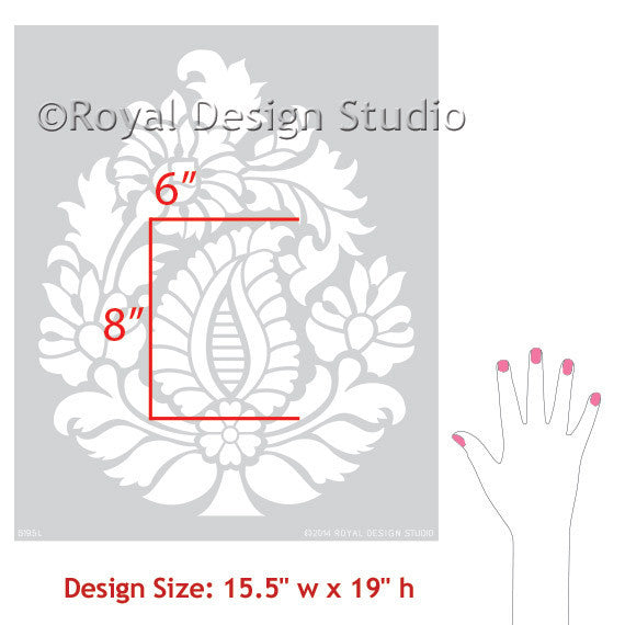 Wall Art Stencils indian paisley motif wall & furniture stencil | royal design