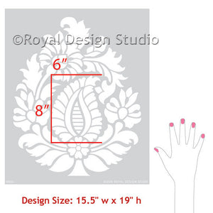 Indian Design Paisley Wall Art Stencil by Royal Design Studio Stencils