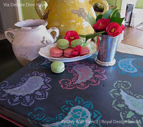 Painted furniture and stenciled table with Royal Design Studio paisley print pattern stencils