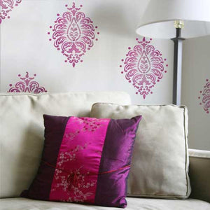 Indian Designs Stenciled on Walls with Paisley Wall Art Stencils - Royal Design Studio