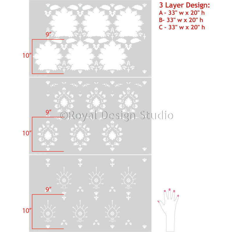 Bohemian Suzani Wallpaper Pattern Wall Stencils for Painting - Royal Design Studio