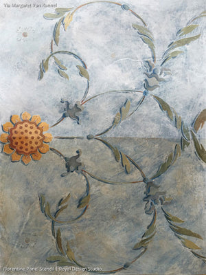 Vine and Flower Stencils Paint Intricate Designs on Dressers, Tables, and More - Florentine Panel Furniture Stencils - Royal Design Studio