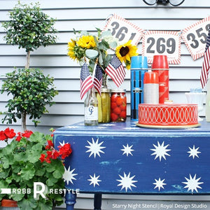 Patriotic USA Fourth of July Decor - Furniture Stencils DIY Project - Starry Night Stencils - Royal Design Studio