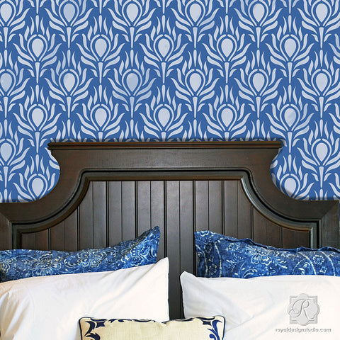 Fancy Peacock Feathers Wall Stencils   Royal Design Studio. Wall Stencils  Popular Designer Stencils for DIY Home Decor