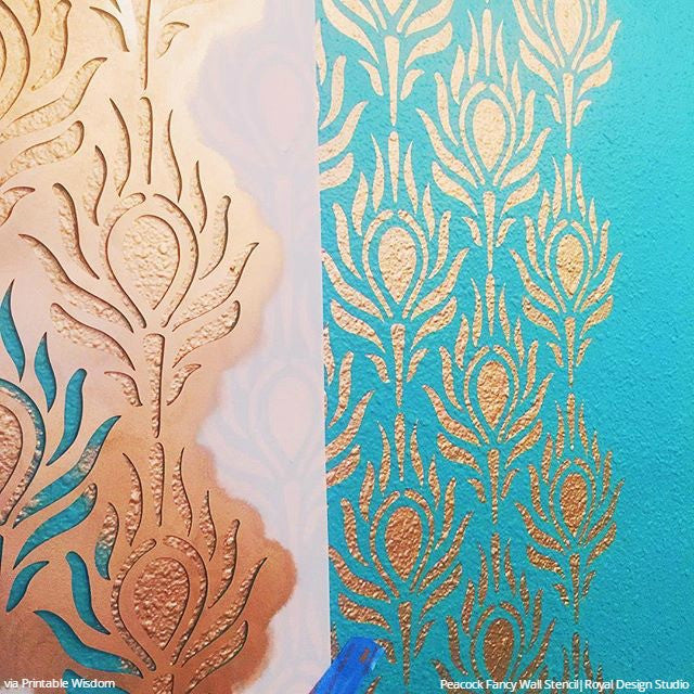 Metallic Gold and Teal Painted Peacock Feathers Wall Stencils - Modern DIY Wallpaper Pattern Stencils - Royal Design Studio
