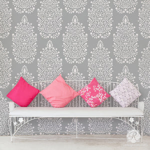 DIY Wallpaper Wall Art - Persian Flower Garden Allover Damask Wall Stencil - Royal Design Studio