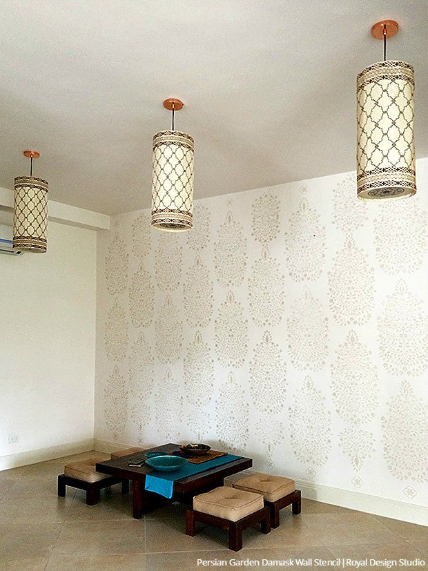 Indian Home Decor Project using Chalk Paint and Large Flower Wallpaper Wall Stencils - Royal Design Studio
