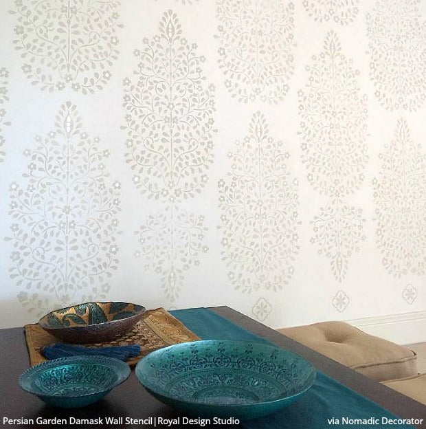 Persian Garden Damask Wall Stencil