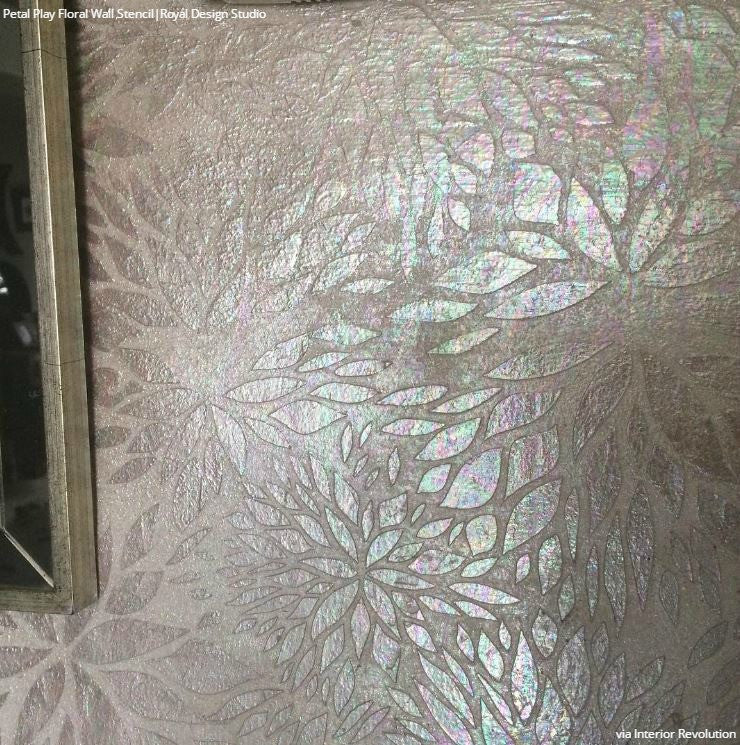 Metallic Glam Modern Flower Wall Stencils - Royal Design Studio