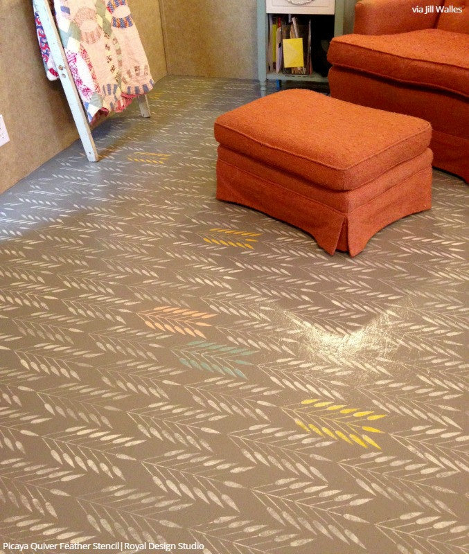 Colorful Painted Concrete Floor with Tribal Feather Stencils - Royal Design Studio