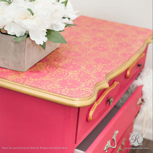 Bold and Colorful Furniture Stencils for DIY Decorating - Fleur de Lace Furniture Stencils - Royal Design Studio