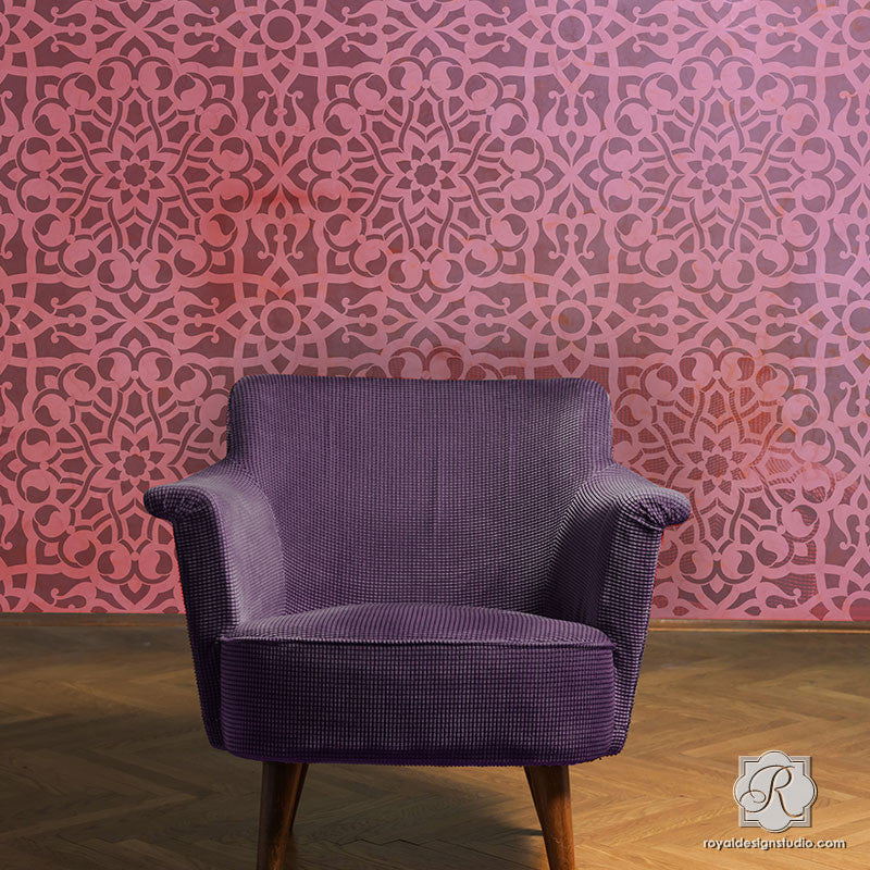 Boho Chic Pink Wallpaper Decorating - Zahara Moroccan Wall Stencils - Royal Design Studio