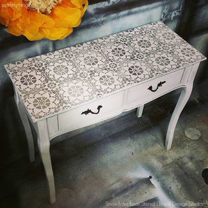 DIY Chalk Paint Custom Furniture Stencils with Lace Pattern - Royal Design Studio