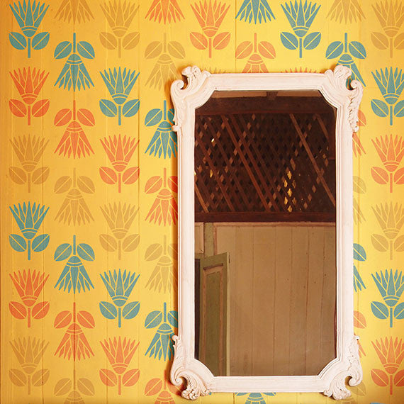 Colorful Wallpaper Look Created by African Floral Wall Stencils - Royal Design Studio