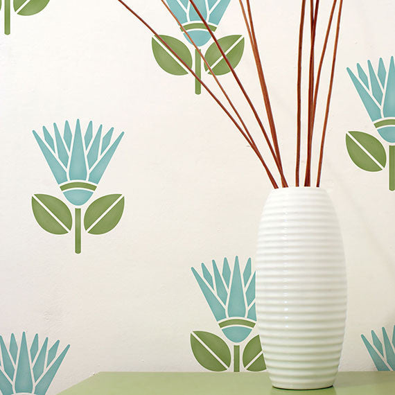 Cute African Protea Flower Allover Wall Stencils for Colorful and Exotic Home Decor Royal Design Studio