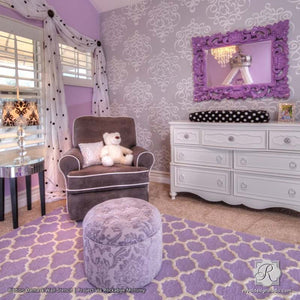 Ribbon Damask Wall Stencil