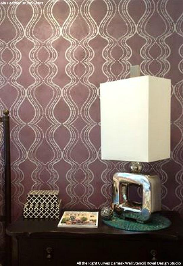 All The Right Curves Damask Bari J Wall Stencil