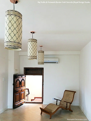 DIY Moroccan Indian Decor - Painted Lanterns Curtains with Stencils