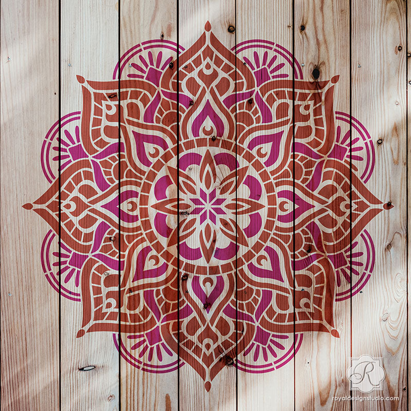 Reclaimed Upcycled Wood Decor - Painting Boho Chic Mandala Stencils DIY Project - Royal Design Studio Stencils-L
