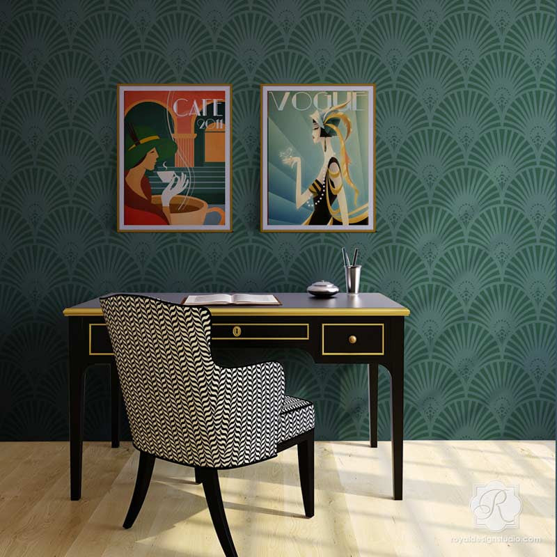 Designer Retro Wallpaper Look using Gatsby Glam Art Deco Wall Stencils - Royal Design Studio