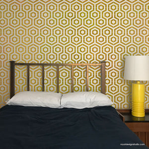 Modern Bedroom Feature Wall Stencils - Modern Hexagon Shape Wall Stencils for DIY Wall Painting - Royal Design Studio