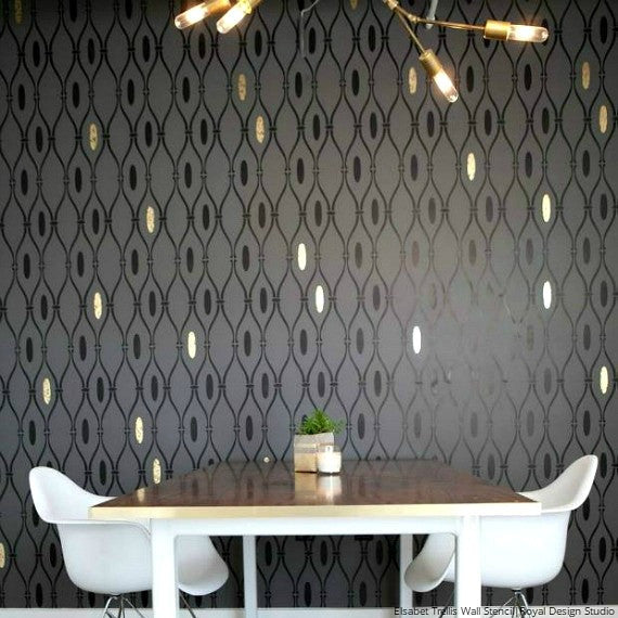 Retro Wallpaper Wall Stencils for Mid Century Modern Interiors - Royal Design Studio