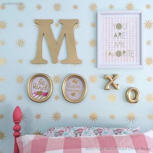 Metallic Stars Wallpaper Stencils for Girls Room - Royal Design Studio
