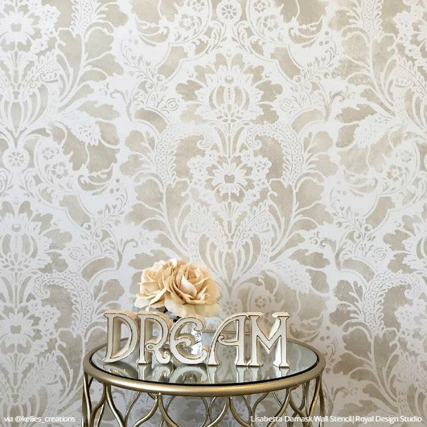 Elegant Vintage Wallpaper Large Damask Wall Stencils Nursery Decor - Royal Design Studio