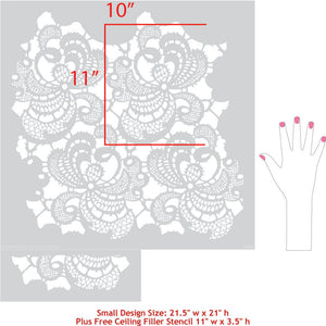 Vintage Shabby Chic Wallpaper Idea - Paint with Lace Wall Stencils - Royal Design Studio