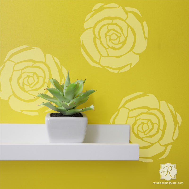 Modern Rose Stencils - Wall Stencils for Painting DIY Decor
