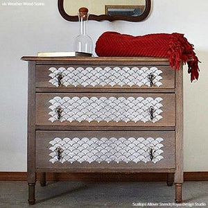 Painted Wood Furniture with Stenciled Pattern - Scallop Design Furniture Stencils - Royal Design Studio