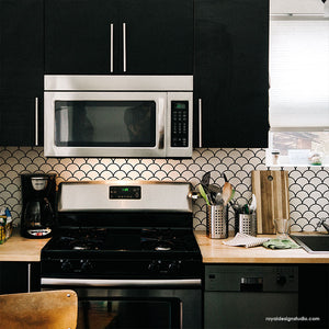 Scallop Tile Kitchen Backsplash - DIY Painted Tiles - Custom Kitchen Design - Scallop Stencil from Royal Design Studio Stencils
