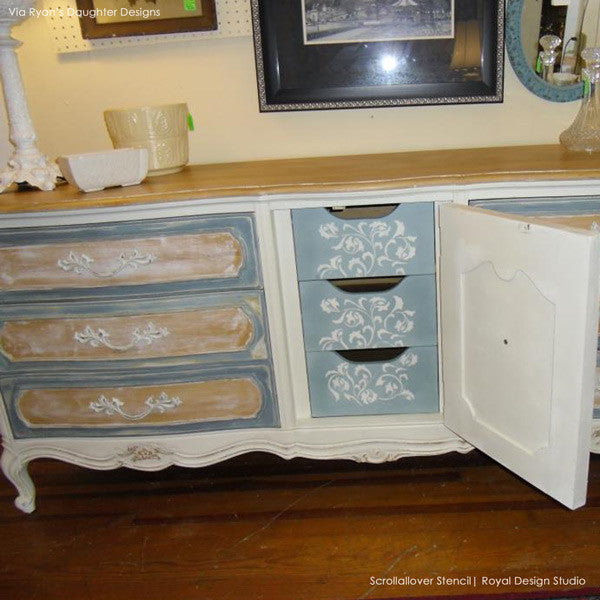 stenciling furniture ideas. Vine And Leaves Scroll Allover Painted Furniture Stencils - Royal Design Studio Chalk Paint Ideas Stenciling