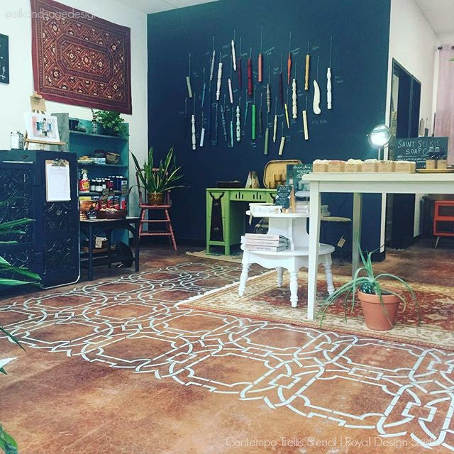 DIY Custom Painted Floor with Large Modern Stencils - Royal Design Studio