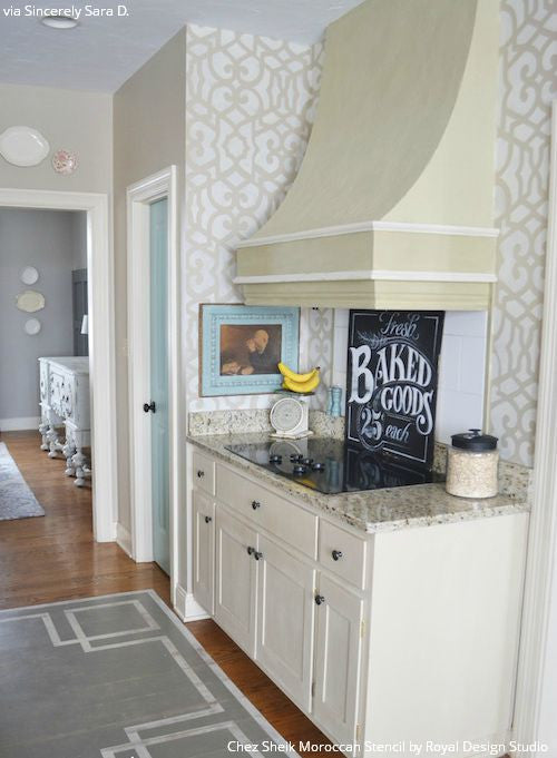Neutral Chic Kitchen Makeover and Wall Decor - Chez Sheik Moroccan Wall Stencils - Royal Design Studio