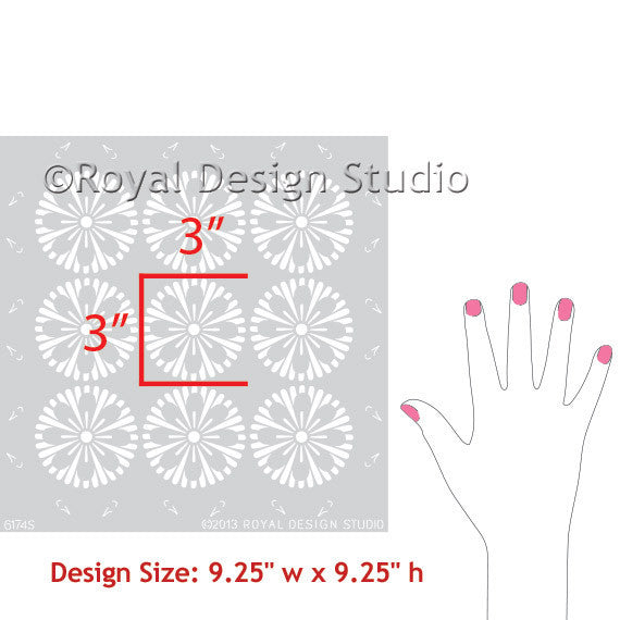 Modern Geometric Circles Allover Flower Wall Stencils - Royal Design Studio