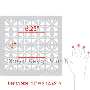 Modern and Geometric Patterns - Flower Furniture Stencils for Painting and DIY Decor - Royal Design Studio