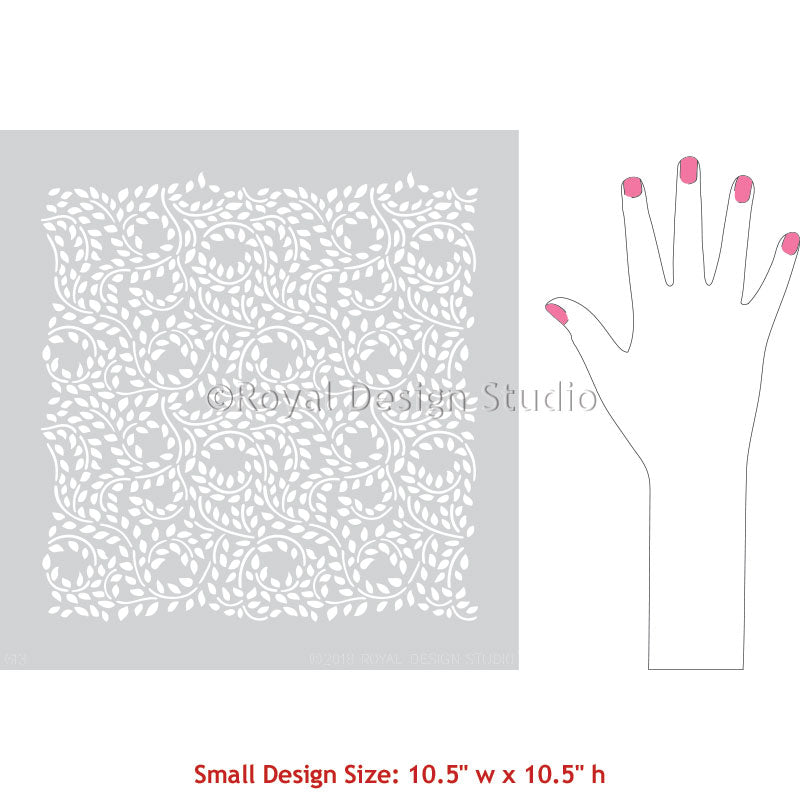 Small Leaves Vine Pattern Painting Stencils for Reclaimed Furniture Design - Lacy Leaves Furniture Stencils - Royal Design Studio