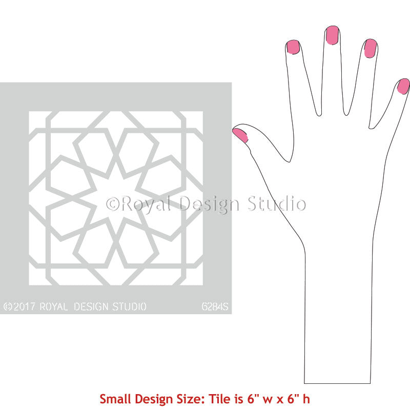Small Tile Stencils for Painting Moroccan Pattern on Floor or Crafts - Royal Design Studio