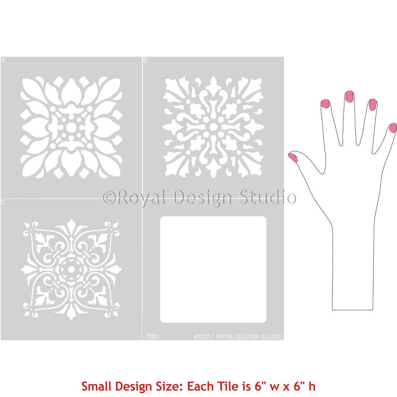 Classic Tile Designs for Stenciled Floor Makeover - Royal Design Studio